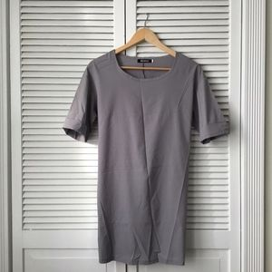 Grey Chiffon T-Shirt Dress Short Sleeve